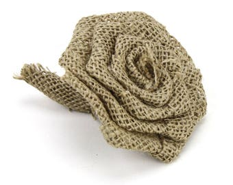 Natural Burlap Rose Decor (Pack of 24pcs) - 1 x 1.5 inches, more colors  (BR091-xx)