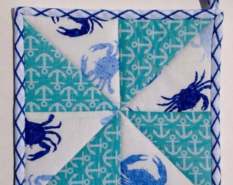 Quilted nautical pot holder with crabs and anchors