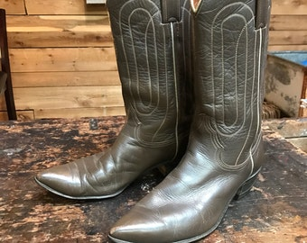 Vintage 1960s Justin Western Boots Vtg 50s Taupe Leather Cowboy Boots Made in USA Women's Size 9