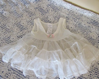 "Vintage ""Her Majesty"" Baby Tiered Ruffled Slip 12 Months Nylon Lace Trim Dress Poofy Skirt Doll Clothes White 1980s  EUC Frilly"