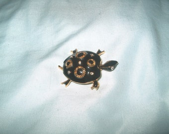 Vintage Costume Jewelry Black Turtle Pin, WAS 25.00 - 50% = 12.50