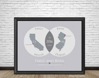 Venn Diagram Long Distance Relationship, Long Distance Love, Long Distance Dating, Gift for Couples, Boyfriend, Girlfriend Gifts, Art Prints