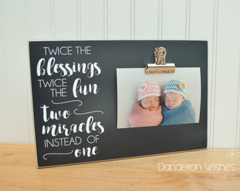 Twins Frame - Twice the Blessings, Twice The Fun, Two Miracles Instead of One -  Gift For Twins, Twins Pregnancy Reveal; Twins Gift