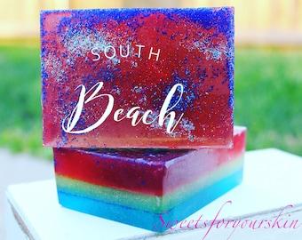 South Beach glycerin soap-Scrubby bar with jojoba beads