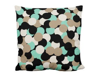Throw Pillow Cover, Black Taupe Beige Green, Home Decor, Modern Pillow, Geometric pattern pillow cover