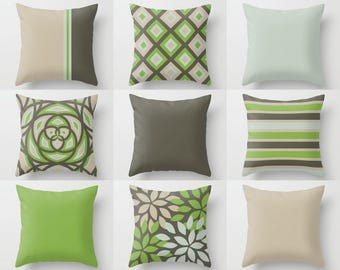Outdoor Pillows, Brown Green Outdoor Pillows, Outdoor Home Decor, Outdoor Throw Pillows, Patio Decor