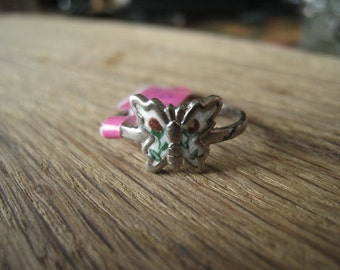 Sterling Silver White Green Red Enamel Butterfly Ring 7.5 (439)