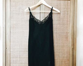 Vintage Little Black Dress Slip Style Lace Trim Dress Size XS/ Small