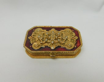 Vintage Estee Lauder Regancy Red Gold Filigree Ornate Solid Perfume Holder Case Box Compact Rectangle Metal Hinged Lid Enamel Vanity Dresser