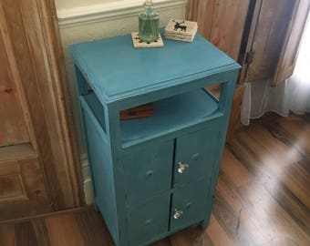 Blue distressed Cabinet, chalk paint, 4 door, Tall