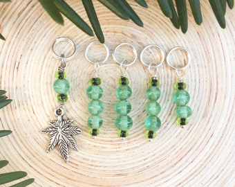 Green Herbal Stitch markers | knitting stitch markers| knitting Accessory | Knitting Notions