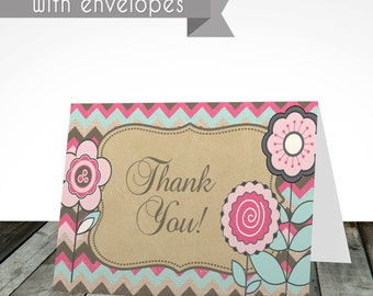 Flower thank you cards, PRINTED or digital, shipped with envelopes, thank you card, birthday card, birthday invitation
