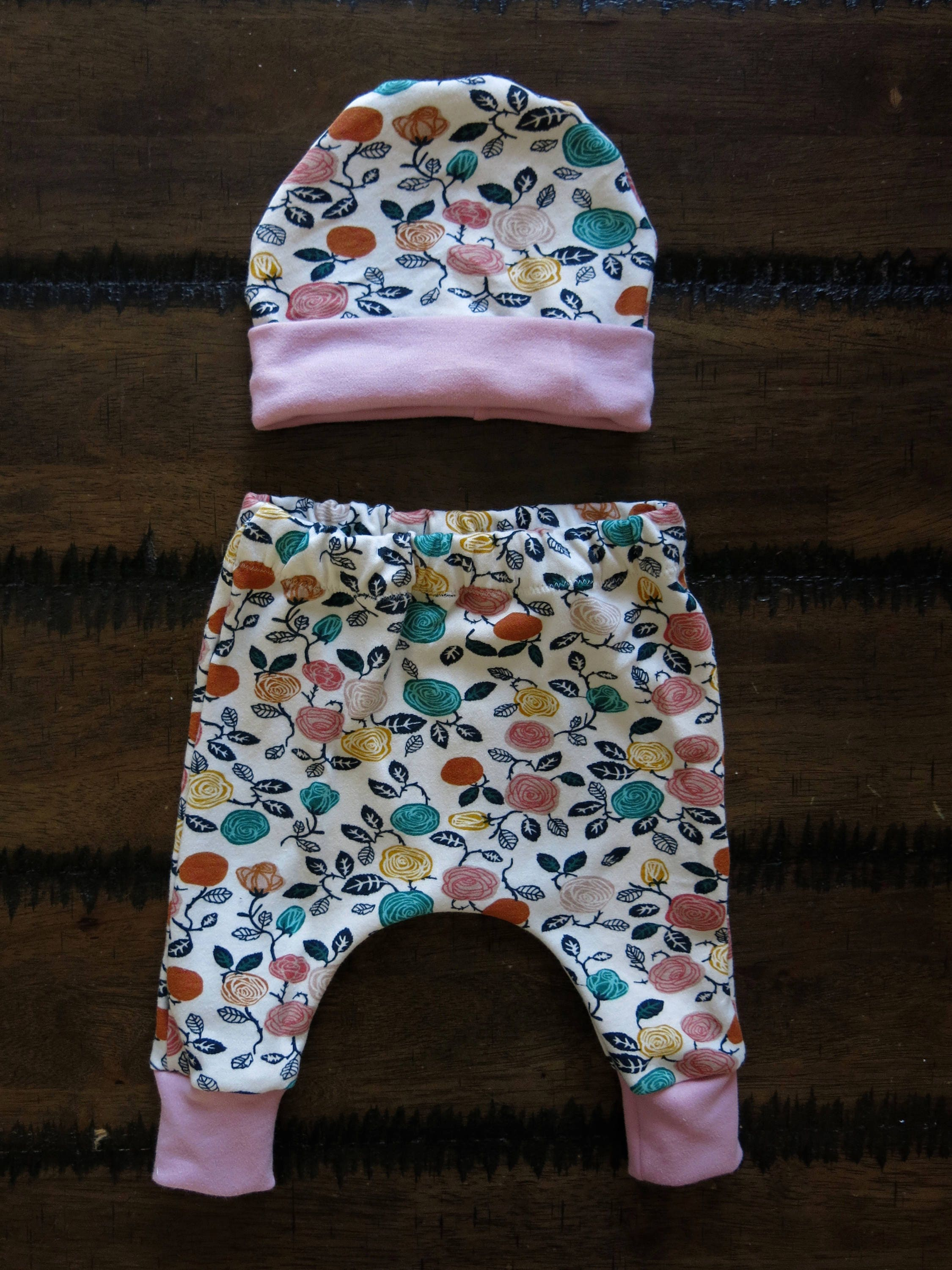 Organic baby clothes Jersey Knit Harem Pants Baby band beanie