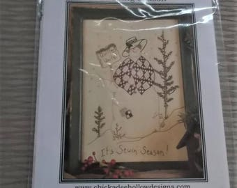 Embroidery Needlework Pattern It's Sewing Season Quilting Snow Ladies 8x10 Chickadee Hollow Designs