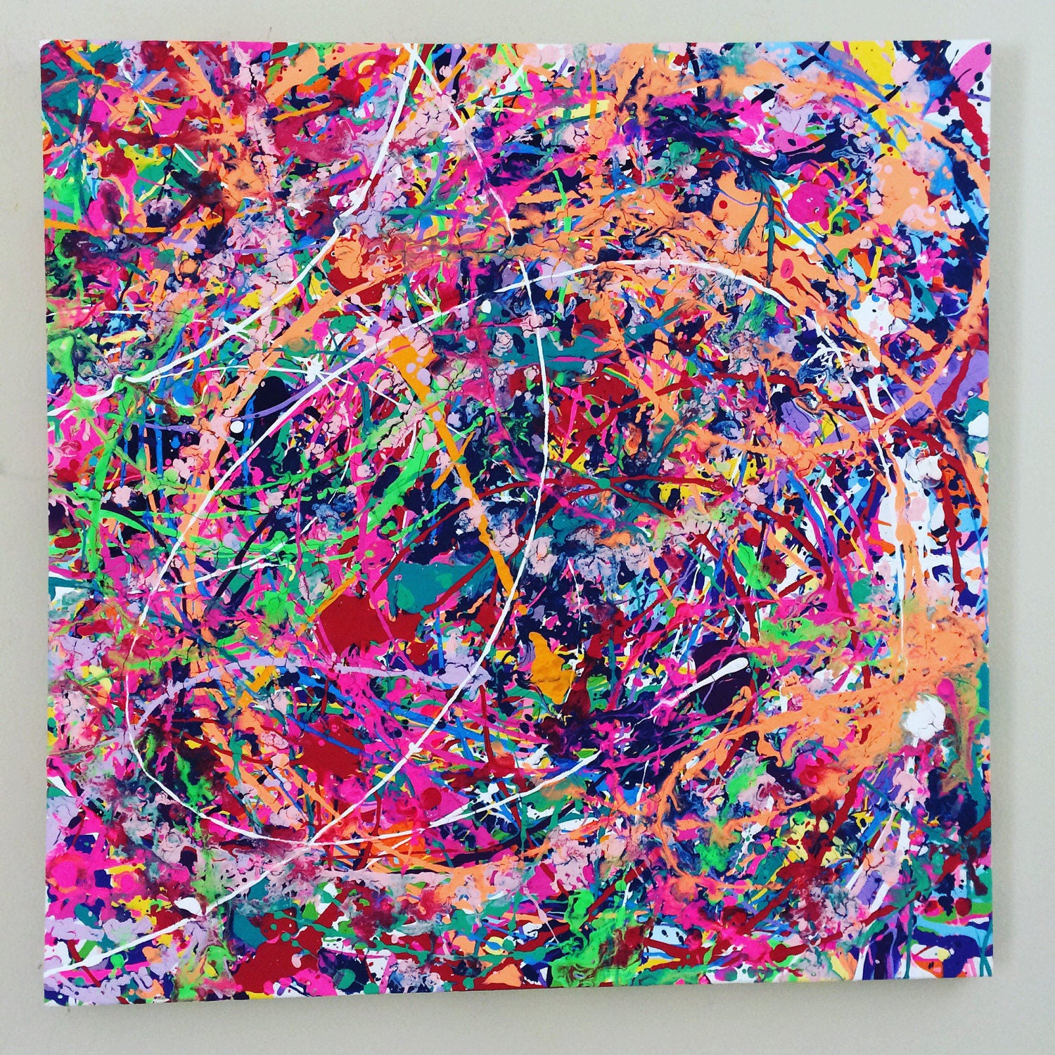 neon abstract art splatter painting colorful canvas art large