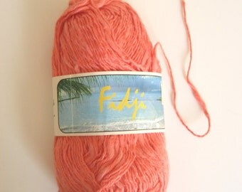 Cotton mix yarn, DK weight, light orange, cotton and acrylic, destash, machine washable, slubby yarn, very soft, other colors, discontinued