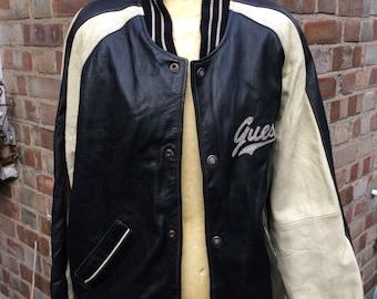 Vintage men's varity guess leather bomber jacket