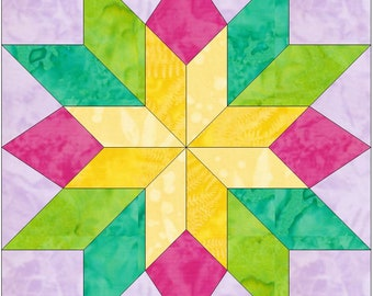 EQ Stars and Beams 15 Inch Paper Template Quilting Block Pattern PDF