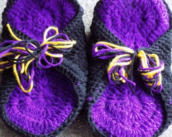 Black and Purple Women's Crochet Slippers