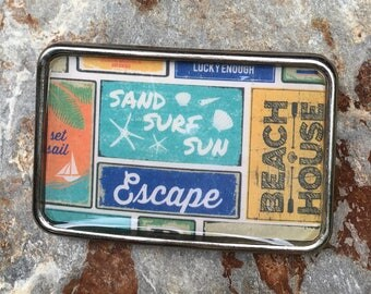 belt buckle mens belt buckle Beach accessories sail accessories beach house escape silver resin Belt buckle women belt buckle sand surf sun