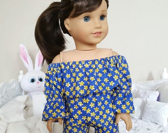 18 inch doll blue floral print romper