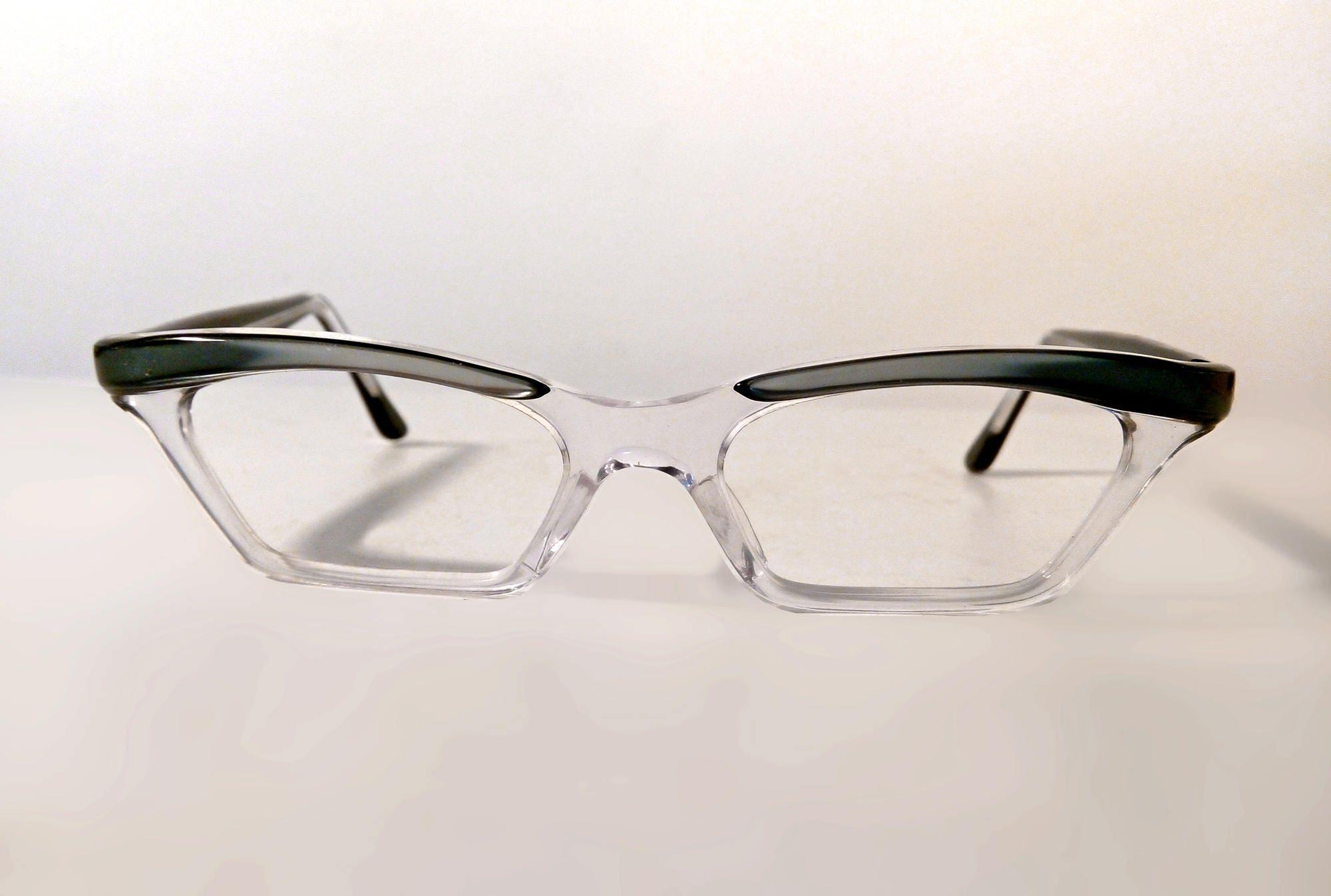 Original 1950s - 60s Wing Rimmed Glasses. Vintage Cat\'s Eye Clear ...