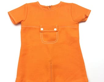 Vintage orange zipped baby bodysuit romper vest age 0-6 months