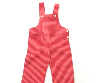 Vintage red white striped dungarees age 12 months