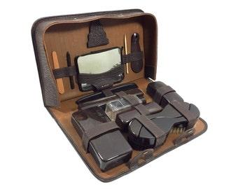 Vintage 12 Piece Men's Grooming & Toiletry Travel Kit, Dopp Kit