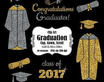 Graduation clip art. Cap, gown, scroll year clipart. Congratulations graduates clipart . Gold silver glitter clipart. Digital download PNG.
