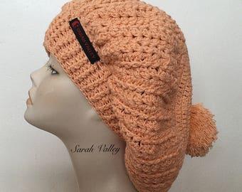 Handmade knit beret, orange slouchy hat, pom pom beret, cotton beret, ladies hat, summer hat, spring hat, gifts for her, baggy hat