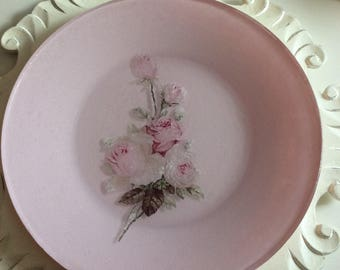 SPECIAL Listing for Katherine K . Rose Decoupged Pink Plate , Kleenex.    Box , pink& White Beaded Eggs