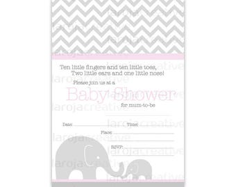 Pink Chevron Elephant Baby Shower Fill-In Invitations
