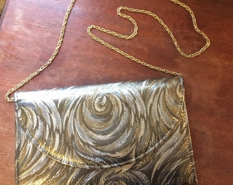 Vintage Silver and Gold Clutch on a Gold Chain