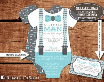Little Man Baby Shower Invitation, Onesie Invitation, Bow Tie, Mustache, Aqua, Blue, Teal, Gray, Self-Editing Invite, BONUS Diaper Tickets