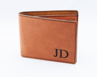 Groomsmen Gifts - Monogram Leather Wallet -  Personalized Mens Wallet