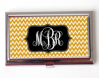 Gold Monogram Business Card Case - Chevron Monogram Business Card Holder
