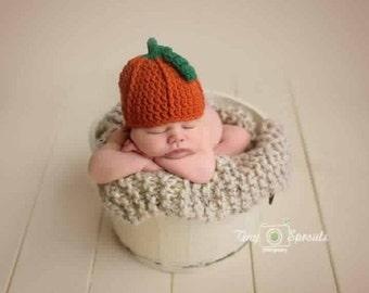 Pumpkin Crochet Fall Hat, Halloween Costume, Newborn Photoshoot, Photo Prop, Pumpkin Patch