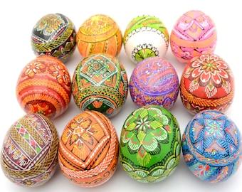 Set of 12 Wooden Ukrainian Pysanky Pysanka Easter Painted Eggs. Polish Pisankі. Czech Kraslice. (art. 2016)