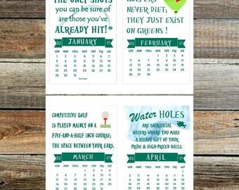 Golf Calendar 2017 ~ 14 Months ~ Printable ~Digital PDF file~Golf Sayings & quotes