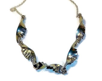 jagged pewter handmade necklace