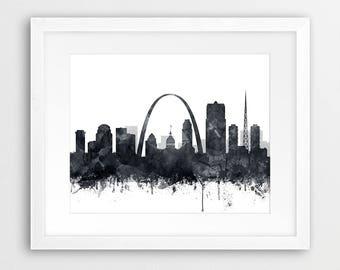 st louis print st louis skyline st louis missouri watercolor grey black white cityscape - Home Decor St Louis Mo