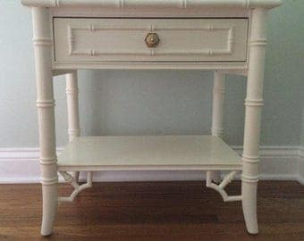 Vintage Thomasville Allegro Faux Bamboo Chinoiserie Chic Hollywood Regency Nightstand End Table Side Table Painted White Single Drawer