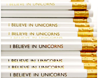 I Believe In Unicorns Pencil | White Luxury Gold Foil Stationery | Birthday Gift | Party Favours | Fun Present | Planner | Desk | HB Pencils