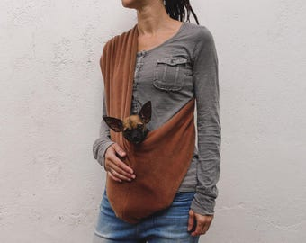 Pet sling LARGE dog carrier-  fleece terra cotta