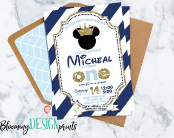 Prince Mickey Mouse Birthday Party Invitation