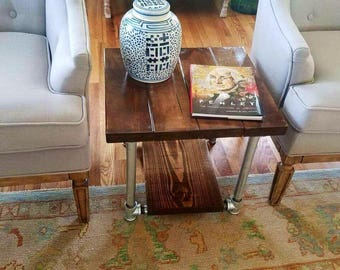 Industrial Pipe End Table- Iron Pipe Table- Iron Piping Table- Rustic Side Table- Industrial End Table- Wooden End Table- Industrial Table