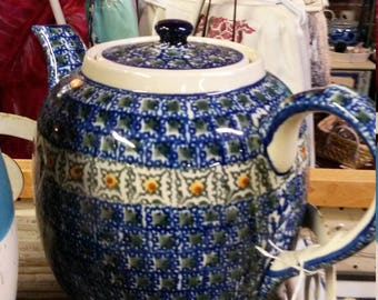 Vintage Polish Pottery Tea Pot Cobalt Blue Handpainted