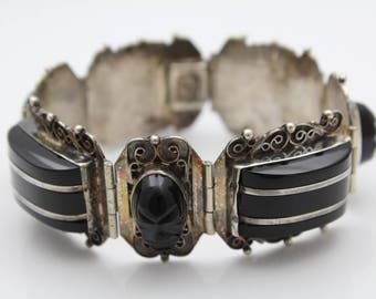 """Awesome Vintage 6 3/4"""" Panel Bracelet By Diaz Santoyo in Sterling Silver. [12218]"""