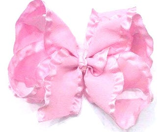 Double Ruffle Hair Bows , 4 Inch Hair Bow , 4 Inch Double Ruffle Bow , Solid Color Bows, Choose Your Color , Solid Double Ruffle Bow